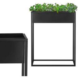 Stojak na kwiaty 80 cm z prostokątną doniczką nowoczesny kwietnik loft czarny mat