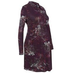 Sukienka shirtowa ciążowa i do karmienia bonprix bordowy z nadrukiem