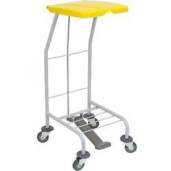 Wózek na odpady pojedynczy z pokrywą żółtą otwieraną przyciskiem pedałowym Stelaż na kółkach na worki na śmieci