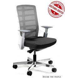 Fotel biurowy Unique SPINELLY M 998W - Biały, wysuw siedziska + 21 kolorów siedziska.