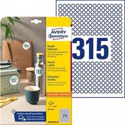 Etykiety okrągłe Avery Zweckform A4 25ark./op. Ø10mm białe usuwalne