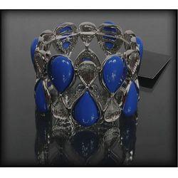 Szeroka bransoletka z kobaltowymi kamieniami