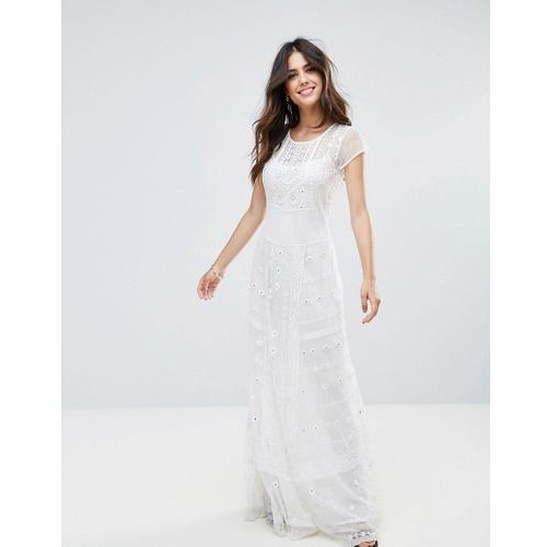 Suknie i sukienki, French Connection Coachella Stitch Maxi Dress - White