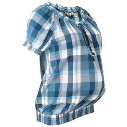 Tunika ciążowa z bawełny bonprix niebieski dżins w kratę