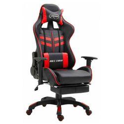 Czerwony fotel dla gracza z podnóżkiem - Triston