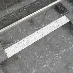 vidaXL Kratka odpływowa, liniowa, 930x140 mm, wzór w kropki, stal nierdzewna Darmowa wysyłka i zwroty