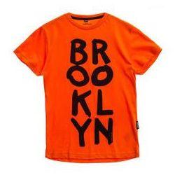 T-shirt chłopięcy z nadrukiem pomarańczowy Denley T3313