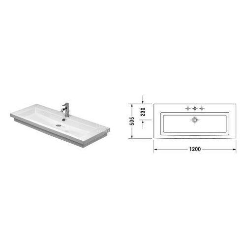 Umywalki, DURAVIT 2nd FLOOR Umywalka z przelewem 120 x 50,5 cm Duravit 2nd floor 049112 00 00 biały.