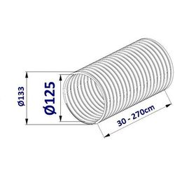 Przewód Elastyczny FLEX do Wentylacji 2,7m - 100; 125; 150mm Przewód Elastyczny FLEX 2,7m: 125