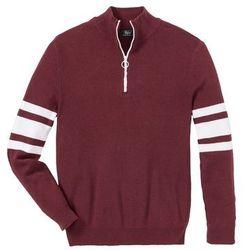 Sweter ze stójką z zamkiem, z bawełny z recyclingu bonprix czerwony rubinowy