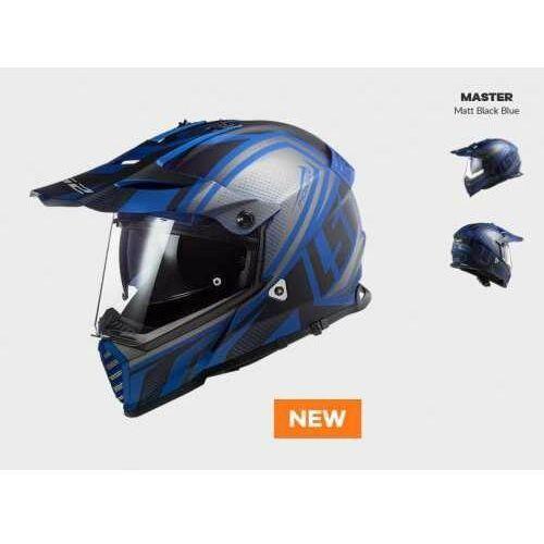 Kaski motocyklowe, KASK MOTOCYKLOWY ENDURO OFF ROAD LS2 MX436 PIONEER EVO MASTER MATT BLACK BLUE - nowość 2021 roku