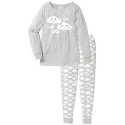 Piżama, bawełna organiczna bonprix jasnoszary melanż z nadrukiem