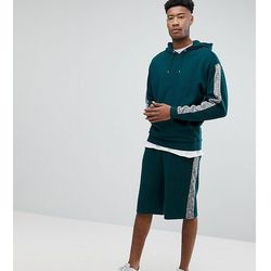 ASOS TALL Tracksuit Oversized Hoodie/ Oversized Shorts With Slub Panels - Green