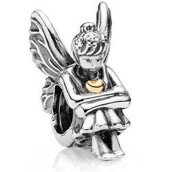 Rodowany srebrny charms do pandora anioł aniołek angel serce heart srebro 925 PAS180