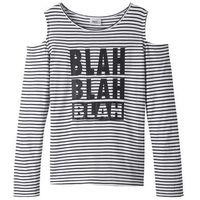 Bluzy dziecięce, Shirt dziewczęcy z wycięciami na ramionach bonprix biało-czarny w paski