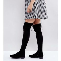 ASOS KEEP UP WIDE LEG Flat Over The Knee Boots - Black