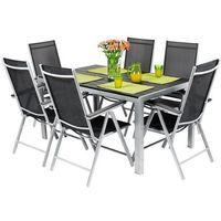 Zestawy ogrodowe, Meble ogrodowe składane aluminiowe MODENA Stół i 6 krzeseł - Czarne - czarny Zestaw Modena (-3%)