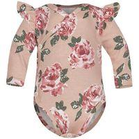 Body niemowlęce, Body kopertowe niemowlęce z długim rękawem Róże Fluid - Dolce Sonno