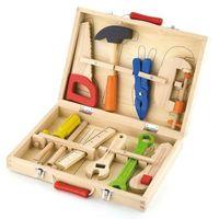 Skrzynki i walizki do majsterkowania, Drewniany Skrzynka Walizka z Narzędziami Zestaw Małego Majsterkowicza Viga Toys