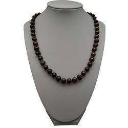 Naszyjnik supełkowany - perły brązowe okrągłe PES28-1
