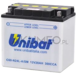 Akumulator UNIBAT C60-N24L-A/SM 12V 28Ah 300A prawy+ oL
