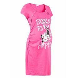 Koszula nocna ciążowa i do karmienia bonprix ciemnoróżowy z nadrukiem
