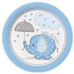 Talerzyki na Baby Shower Słonik z parasolem dla chłopca - 18 cm - 8 szt.