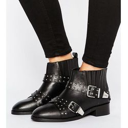 ASOS ASHES Wide Fit Studded Leather Ankle Boots - Black