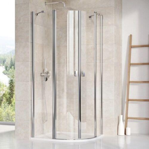 Kabiny prysznicowe, RAVAK CHROME CSKK4 Kabina półokrągła 90, profile polerowane aluminium, szkło transparentne 3Q170C00Z1