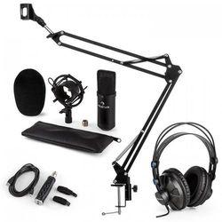 Auna CM001B Zestaw mikrofonowy V3 słuchawki mikrofon adapter USB ramię mikrofono