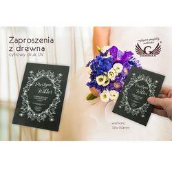 Zaproszenia ślubne z drewna - cyfrowy druk UV - ZAP020