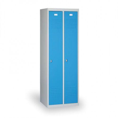 Szafki do przebieralni, Szafka ubraniowa Ekonomik, niebieskie drzwi, zamek obrotowy