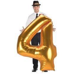 Balon foliowy złota cyfra 4 - 137 cm - 1 szt.