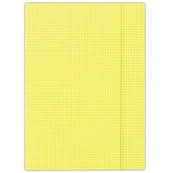 Teczka z gumką DONAU, karton, A4, 400gsm, 3-skrz., żółta w kratę