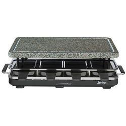 grill elektryczny Raclette 8 z granitową płytą, czarny - SPRING - Czarny