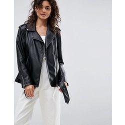 ASOS Longline Biker Jacket in Faux Leather - Black