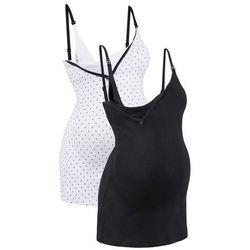 Top do karmienia piersią (2 szt.) bonprix czarny/biały z nadrukiem