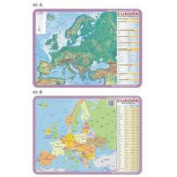 Podkładka edukacyjna. europa mapa fizyczna i polityczna