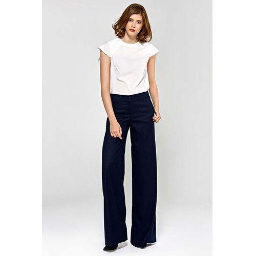 Spodnie damskie, Granatowe Stylowe Spodnie Damskie z Szerokimi Nogawkami