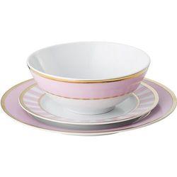 Zestaw obiadowy stripes różowy 3 el.