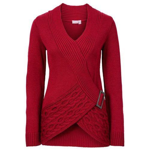 Swetry i kardigany, Sweter dzianinowy bonprix ciemnoczerwony