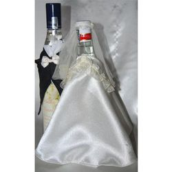Ubranka na butelkę wódki-falbanka ekri bordo