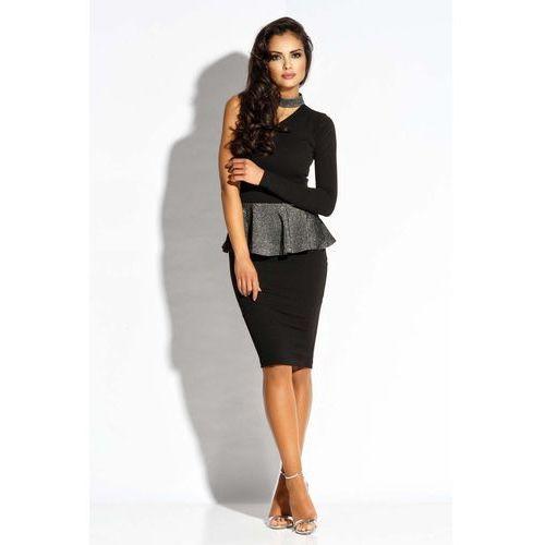 Suknie i sukienki, Czarno Srebrna Sukienka Koktajlowa z Baskinką na Jedno Ramię