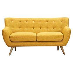Sofa 2-osobowa z tkaniny SERTI - Miodowa żółć z dopasowanymi dekoracyjnymi guzikami