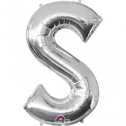 Balon foliowy litera S srebrna - 20 x 33 cm
