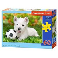 Puzzle, Puzzle 60 elementów White Terrier and Football