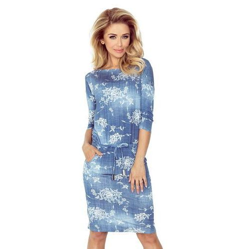 Suknie i sukienki, Sukienka Ściągana w Drobne Kwiaty w Kolorze Jeansowym