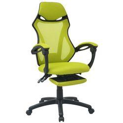 vidaXL Krzesło biurowe z odchylanym oparciem i podnóżkiem, czarno-zielone