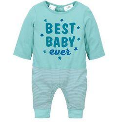 Pajacyk niemowlęcy z doszytym shirtem, bawełna organiczna bonprix zieleń morska - matowy srebrny