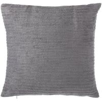 Poduszki, Poduszka dekoracyjna pasiasta welur szara 45 x 45 cm